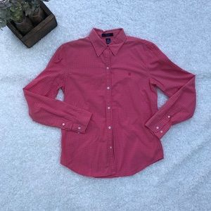 Chaps Med Pink Long Sleeve Button Down